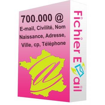 Base de 630.000 Emails Qualifiés France Particuliers B2C